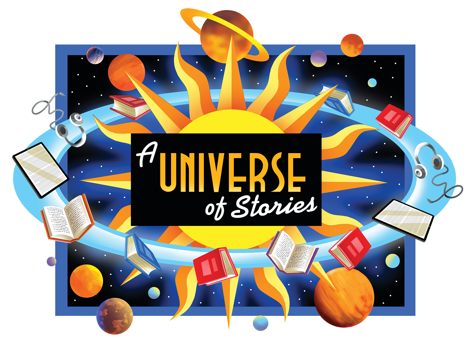 A Universe of Stories image with orbiting books