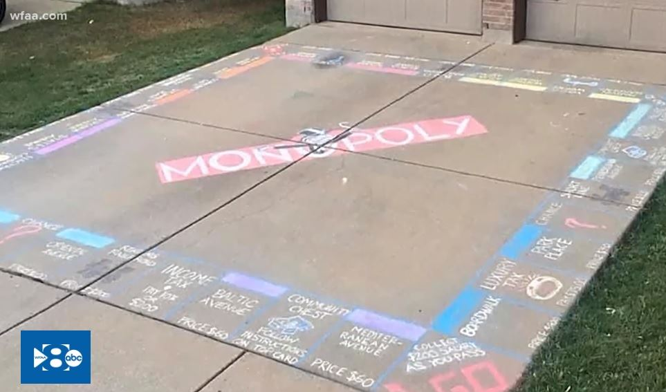 Monopoly board chalk drawing on driveway Opens in new window