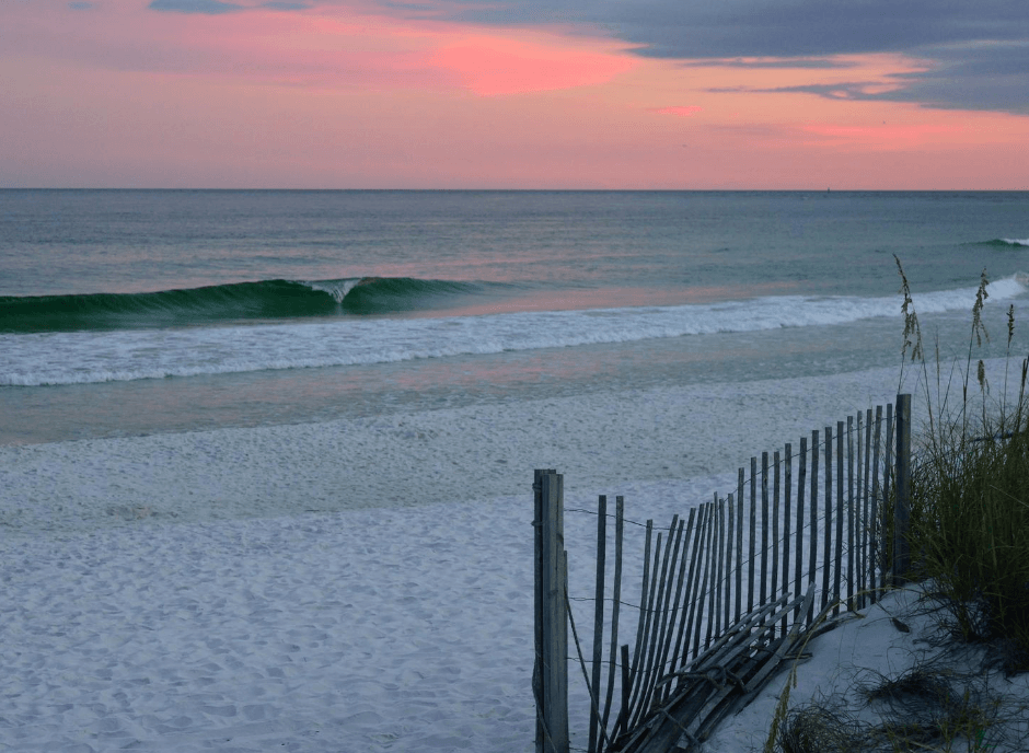 A beach at sunset