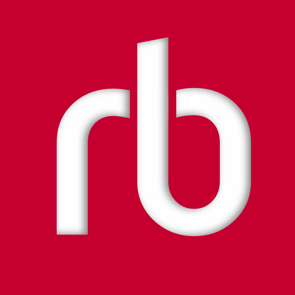 RBdigital app logo - a white rb on a red background