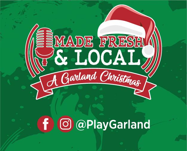 Made-Fresh-Local A-Garland-Christmas logo with green background with @PlayGarland social tags